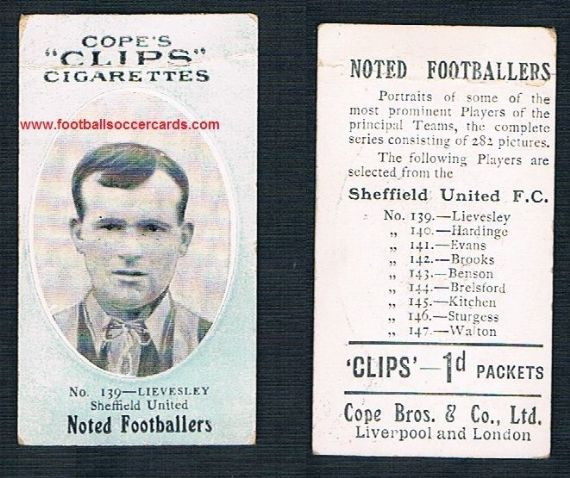 1910 Cope Brothers Noted Footballers 282 series 139 Lievesley Sheffield United